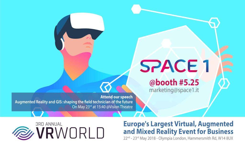 SPACE1 Sponsor all'evento di Augmented Reality VR WORLD 2018 a Londra, Regno Unito